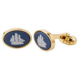 Butoni Jasper placati cu aur barcuta oval