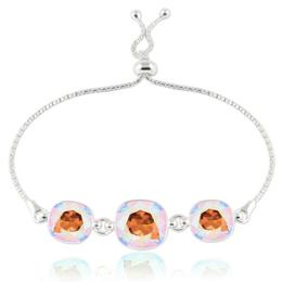 Bratara argint, Bratara Swarovski Crystals Triple Square Colorado Shimmer + CADOU Laveta curatat bijuteriile din argint (Bratara Criando Bijoux)