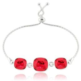 Bratara argint, Bratara Swarovski Crystals Triple Square Scarlet + CADOU Laveta curatat bijuteriile din argint (Bratara Criando Bijoux)