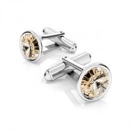 Butoni argint, Butoni Swarovski Crystals Rivoli Light Silk 12mm (Butoni Camasa Criando Bijoux) + CADOU Laveta profesionala pentru curatat bijuterii din argint