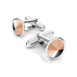Butoni argint, Butoni Swarovski Crystals Rivoli Rose Gold 12mm (Butoni Camasa Criando Bijoux) + CADOU Laveta profesionala pentru curatat bijuterii din argint
