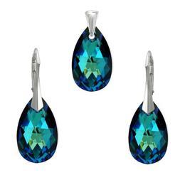 Set argint, Set Swarovski Pear Electric Blue 22mm + CADOU Laveta profesionala pentru curatat bijuteriile din argint (Set Criando Bijoux)