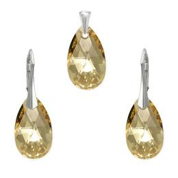 Set argint, Set Swarovski Pear Gold 22mm