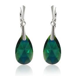 Cercei argint, Cercei Swarovski Pear Emerald AB 22mm (Bijuterii Argint)