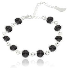 Bratara argint, Bratara Swarovski Shine Black (Bratara Criando Bijoux) + CADOU Laveta curatat bijuteriile din argint