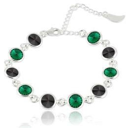 Bratara argint, Bratara Swarovski Shine Black Emerald (Bratara Criando Bijoux) + CADOU Laveta curatat bijuteriile din argint