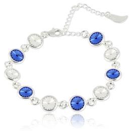 Bratara argint, Bratara Swarovski Shine Crystal Clear Sapphire (Bratara Criando Bijoux) + CADOU Laveta curatat bijuteriile din argint