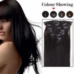 Extensii clip - on Veritable cu 10 piese, lungime 45 cm , culoare negru natural ( #1B )