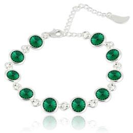 Bratara argint, Bratara Swarovski Shine Emerald (Bratara Criando Bijoux) + CADOU Laveta curatat bijuteriile din argint