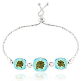 Bratara argint, Bratara Swarovski Crystals Triple Square Erinite Shimmer + CADOU Laveta curatat bijuteriile din argint (Bratara Criando Bijoux)