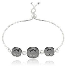 Bratara argint, Bratara Swarovski Crystals Triple Square Night + CADOU Laveta curatat bijuteriile din argint (Bratara Criando Bijoux)