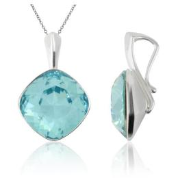Colier argint, Colier Swarovski Cushion Cut Light Turquoise 12mm (Pandantiv Argint)