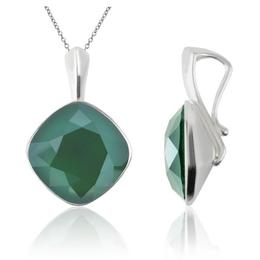 Colier argint, Colier Swarovski Cushion Cut Royal Green 12mm (Pandantiv Argint)