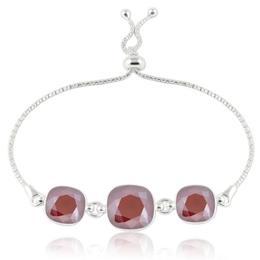 Bratara argint, Bratara Swarovski Crystals Triple Square Dark Red + CADOU Laveta curatat bijuteriile din argint (Bratara Criando Bijoux)