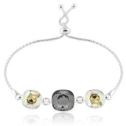 Bratara argint, Bratara Swarovski Crystals Triple Square Night Moonlight + CADOU Laveta curatat bijuteriile din argint (Bratara Criando Bijoux)