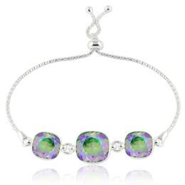 Bratara argint, Bratara Swarovski Crystals Triple Square Paradise + CADOU Laveta curatat bijuteriile din argint (Bratara Criando Bijoux)