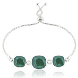 Bratara argint, Bratara Swarovski Crystals Triple Square Royal Green + CADOU Laveta curatat bijuteriile din argint (Bratara Criando Bijoux)