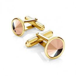 Butoni argint suflati cu aur 24k, Butoni Swarovski Rose Gold 12mm (Butoni Camasa Criando Bijoux) + CADOU Laveta profesionala pentru curatat bijuterii din argint