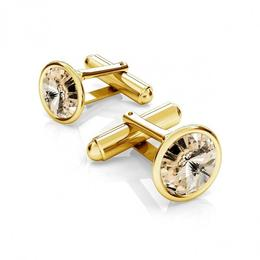 Butoni argint suflati cu aur 24k, Butoni Swarovski Light Silk 12mm (Butoni Camasa Criando Bijoux) + CADOU Laveta profesionala pentru curatat bijuterii din argint