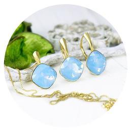 Set bijuterii argint suflat cu aur 24k, Set Swarovski Cushion Cut Blue Opal