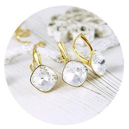 Set bijuterii argint suflat cu aur 24k, Set Swarovski Cushion Cut Crystal Clear