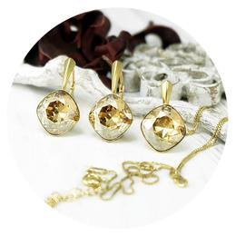 Set bijuterii argint suflat cu aur 24k, Set Swarovski Cushion Cut Gold