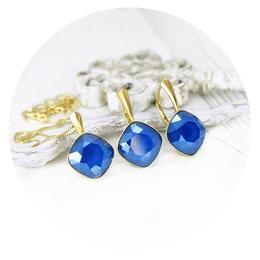 Set bijuterii argint suflat cu aur 24k, Set Swarovski Cushion Cut Royal Blue
