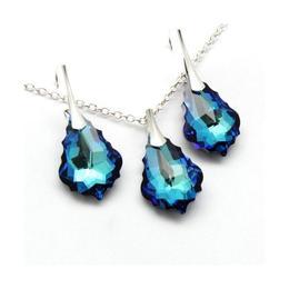 Set bijuterii argint, Set Swarovski Baroque Bermuda Blue (Criando Bijoux)