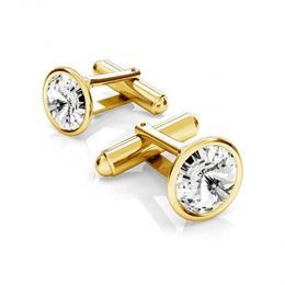 Butoni argint suflati cu aur 24k, Butoni Swarovski Crystal Clear 12mm (Butoni Camasa Criando Bijoux) + CADOU Laveta profesionala pentru curatat bijuterii din argint