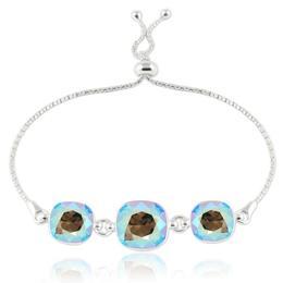 Bratara argint, Bratara Swarovski Crystals Triple Square Diamond Shimmer + CADOU Laveta curatat bijuteriile din argint (Bratara Criando Bijoux)
