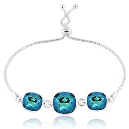 Bratara argint, Bratara Swarovski Crystals Triple Square Electric Blue + CADOU Laveta curatat bijuteriile din argint (Bratara Criando Bijoux)