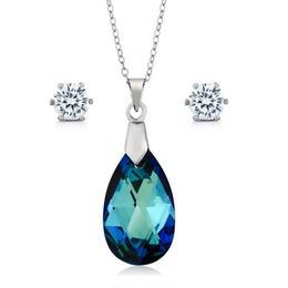 Set bijuterii argint Ocean Tear cu cristale Swarovski Crystals + CADOU Laveta curatat bijuteriile din argint (Set Criando Bijoux)