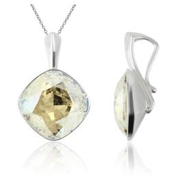 Colier argint, Colier Swarovski Cushion Cut Moonlight 12mm (Pandantiv Argint)