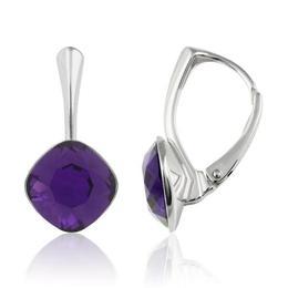 Cercei argint, Cercei Swarovski Cushion Cut Purple Velvet 10mm (Bijuterii Argint)
