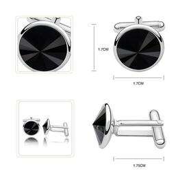 Butoni argint, Butoni Swarovski Crystals Rivoli Black 12mm + CADOU Laveta profesionala pentru curatat bijuterii din argint
