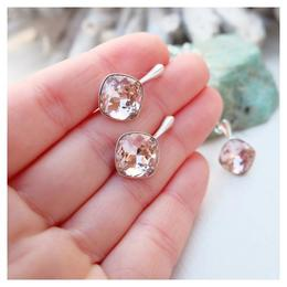 Set bijuterii argint, Set Swarovski Cushion Cut Vintage Rose