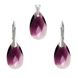 Set argint, Set Swarovski Pear Amethyst Blend 22mm