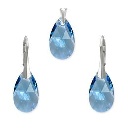 Set argint, Set Swarovski Pear Aquamarine 22mm