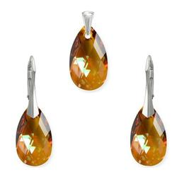 Set argint, Set Swarovski Pear Copper 22mm