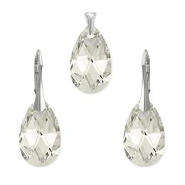 Set argint, Set Swarovski Pear Crystal CAL 22mm