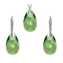 Set argint, Set Swarovski Pear Peridot 22mm
