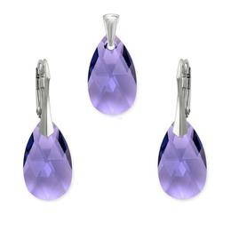 Set argint, Set Swarovski Pear Tanzanite 22mm
