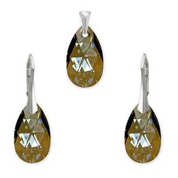 Set argint, Set Swarovski Pear Bronze 22mm