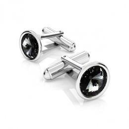 Butoni argint, Butoni Swarovski Crystals Rivoli Night 12mm (Butoni Camasa Criando Bijoux) + CADOU Laveta profesionala pentru curatat bijuterii din argint
