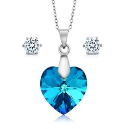Set argint, Set Swarovski Crystals + CADOU Laveta curatat bijuteriile din argint (Set Ocean Criando Bijoux)