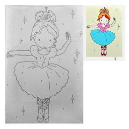 Set pictura pe numere pt copii - Balerina - 30x20 cm, panza pe rama - Ileana