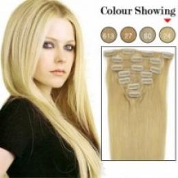 Extensii clip - on Veritable cu 12 piese, lungime 45 cm , culoare blond auriu ( # 24 )
