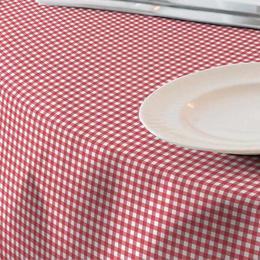 Fata de masa anti-pete Casa de bumbac, Ibiza, 220x140 cm, patratele mici, rosu si alb