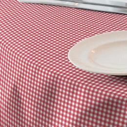Fata de masa anti-pete Casa de bumbac, Ibiza, 280x140 cm, patratele mici, rosu si alb