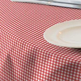 Fata de masa anti-pete Casa de bumbac, Menorca, 220x140 cm, patratele mari, rosu si alb